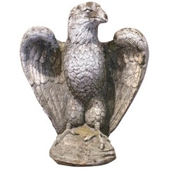 Early 20th Century French Carved Patinated Stone Eagle Sculpture
