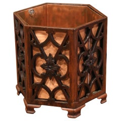 Early 20th Century French Carved Walnut and Copper Waste Basket