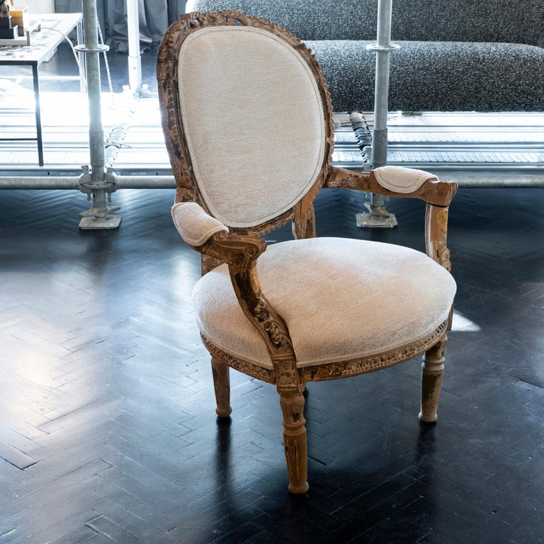 Early 20th Century French Carved Wood Armchair, Reupholstery Ivory Velvet For Sale 7