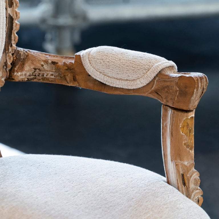Early 20th Century French Carved Wood Armchair, Reupholstery Ivory Velvet For Sale 8