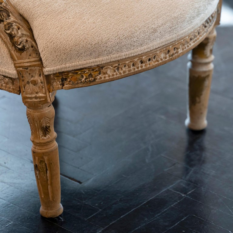 Fabric Early 20th Century French Carved Wood Armchair, Reupholstery Ivory Velvet For Sale