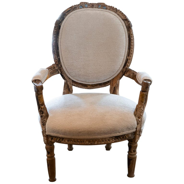 Early 20th Century French Carved Wood Armchair, Reupholstery Ivory Velvet For Sale
