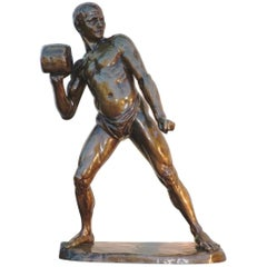 Early 20th Century French Cast Bronze of a Shot Putter