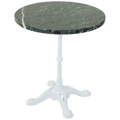 Early 20th Century French Cast Iron Bistro Table, Outdoor Garden Table, Marble