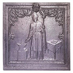 Early 20th Century French Cast Iron Fireback with Image of Saint Elois / Eligius