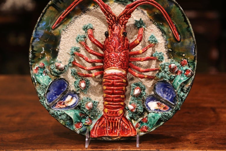 Hand-Crafted Early 20th Century French Ceramic Barbotine Lobster Platter from Brittany For Sale