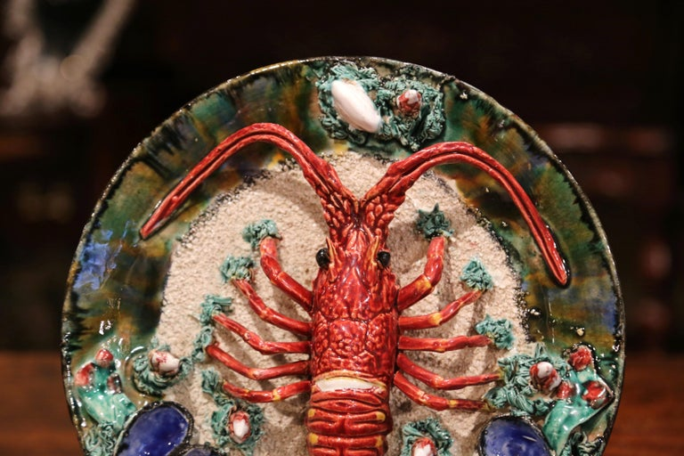 Early 20th Century French Ceramic Barbotine Lobster Platter from Brittany In Excellent Condition For Sale In Dallas, TX