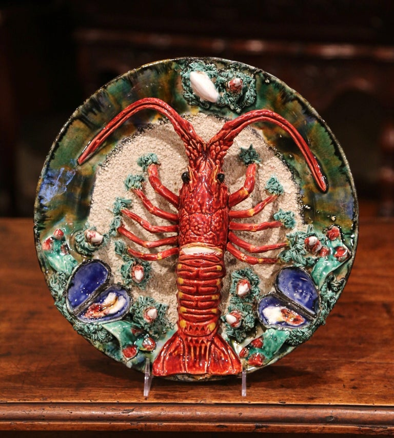 Early 20th Century French Ceramic Barbotine Lobster Platter from Brittany For Sale 1