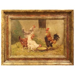 Early 20th Century French Chicken Painting in Carved Frame Signed and Numbered
