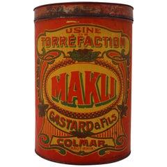 """Early 20th Century French Coffee Storage Box """"Makli"""" Colmar, France"""
