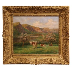 Early 20th Century French Cow Painting in Giltwood Frame Signed Felix Planquette