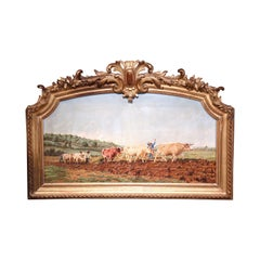 Early 20th Century French Cows Oil Painting in Carved Arched Gilt Wood Frame