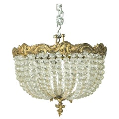 Early 20th Century French Crystal and Bronze Flush Mount or Chandelier, Pendant