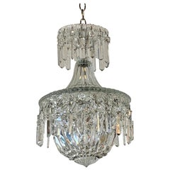 Early 20th Century French Crystal Single Light Pendant Chandelier