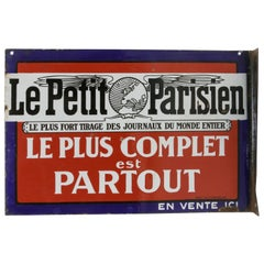 Early 20th Century French Double Faced Enameled Metal Sign for Le Petit Parisien