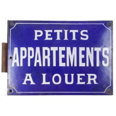 Early 20th Century French Double Sided Enameled Little Apartments for Rent Sign