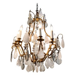 Early 20th Century French Eight Arm Rock Crystal and Gilt Bronze Chandelier