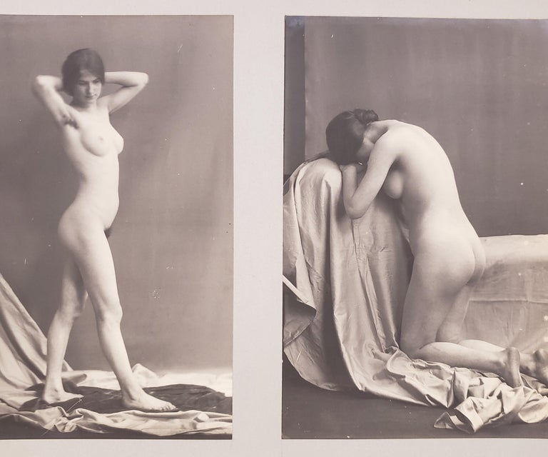 Stunning example of French nude art photography dating to the turn of the 20th century. This unique collection consists of 23 original photographs. The photographs are mounted to boards both front and back. Each board measures 11