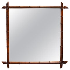 Early 20th Century French Faux Bamboo Mirror
