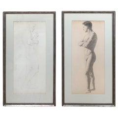 Early 20th Century French Figurative Charcoal Drawings of Nude Male, Unsigned