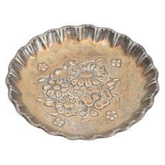 Early 20th Century French Floral Metal Ashtray