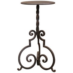 Early 20th Century French Forged and Painted Iron Martini Pedestal Table