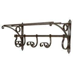Early 20th Century French Forged Iron Coat and Hat Rack with Hooks and Shelf