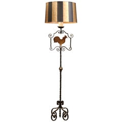Early 20th Century French Forged Iron Floor Lamp with Rooster Decor