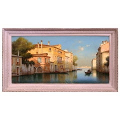 Early 20th Century French Framed Sunset in Venice Oil Painting Signed A. Lecoz