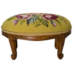 Early 20th Century French Fruitwood Footstool with Antique Needlepoint Tapestry
