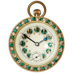 Early 20th Century French Gilded Ball Clock with Guilloche Enamel, circa 1910