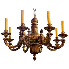 Early 20th Century French Gilt Bronze Chandelier with 8-Lights