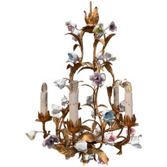 Early 20th Century French Gilt Painted Chandelier with Porcelain Flowers