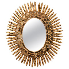 Early 20th Century French Giltwood Sunbust Mirror with Overlay Recessed Glass