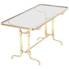 Early 20th Century French Glass Top Brass Coffee Table