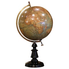 Early 20th Century French Globe on Carved Walnut Base Signed J. Forrest, Paris