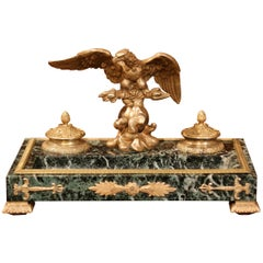 Early 20th Century French Green Marble and Bronze Inkwell with Eagle and Mounts