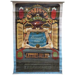 Early 20th Century French Hand Lettering Trade Sign on Canvas