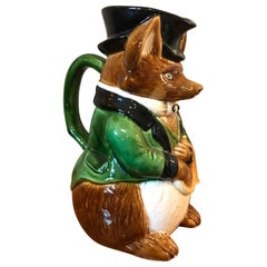Early 20th Century French Hand Painted Barbotine Fox Pitcher