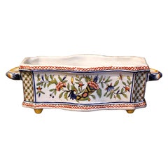 Early 20th Century French Hand-Painted Faience Cache Pot from Rouen