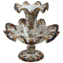 Early 20th Century French Hand Painted faience Centerpiece from Normandy