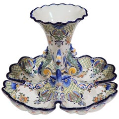 Early 20th Century French Hand Painted Faience Dish with Vase from Nevers