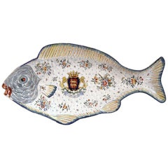 Early 20th Century French Hand-Painted Faience Fish Platter from Normandy
