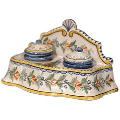 Early 20th Century French Hand-Painted Faience Inkwell Signed HR Quimper