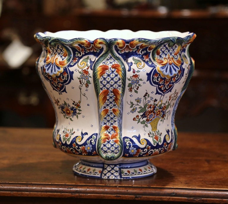 Hand-Crafted Early 20th Century, French Hand Painted Faience Planter from Normandy For Sale