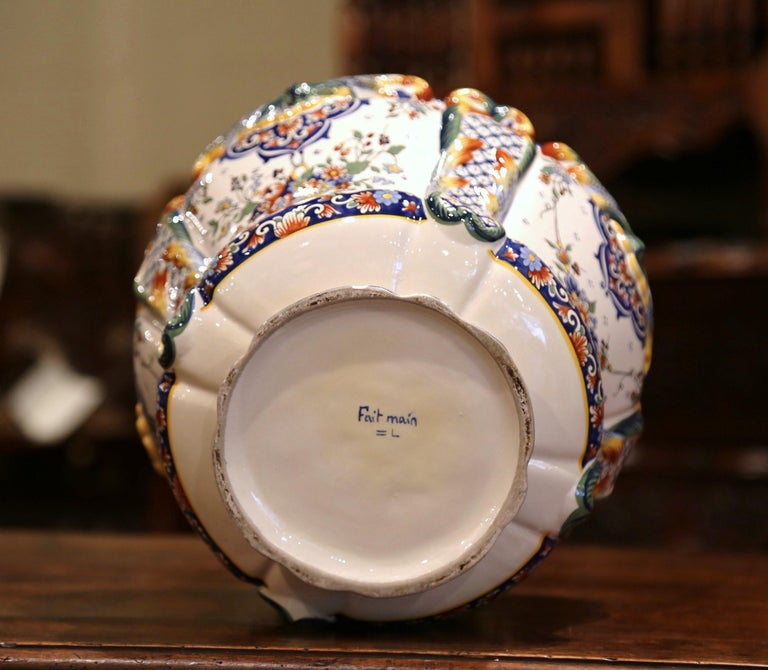 Early 20th Century, French Hand Painted Faience Planter from Normandy For Sale 1