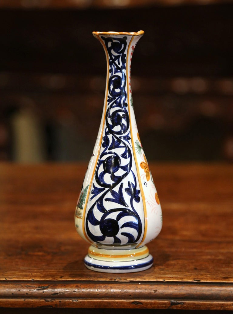 Hand-Painted Early 20th Century French Hand Painted Faience Vase Signed HB Quimper For Sale