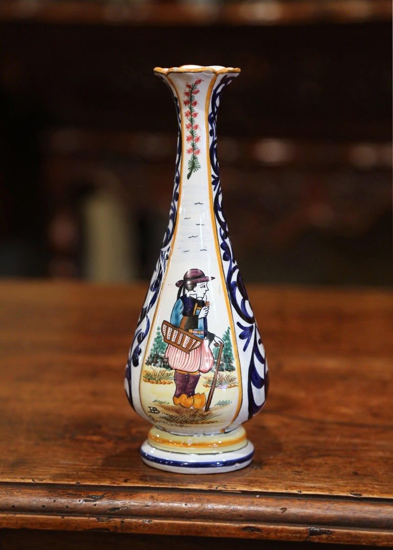 Early 20th Century French Hand Painted Faience Vase Signed HB Quimper For Sale 1
