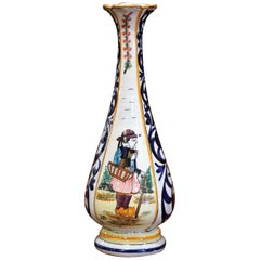Early 20th Century French Hand Painted Faience Vase Signed HB Quimper
