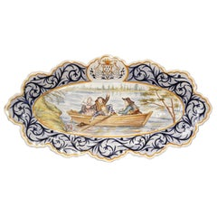 Early 20th Century French Hand Painted Faience Wall Platter from Quimper